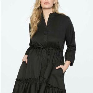 Eloquii black button down ruffle dress size 18